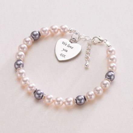 Pearl Memorial Bracelet with Engraved Heart